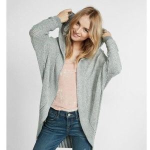 Express Textured Stitch Hooded Cocoon Cardigan
